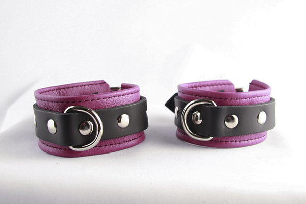 Aslan Leather Fuchsia Nicki Leather Wrist Cuffs -  Wrist Cuffs - Spot of Delight - 2