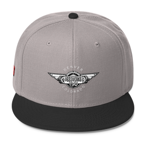 Gray/black Veedverks Racing Carl Long #66 Snapback Cap, Front