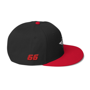 Black/red Veedverks Racing Carl Long #66 Snapback Cap, Right Side Number 66