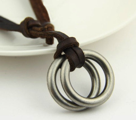 Circle Ring Pendant Genuine Leather Surfer Necklace