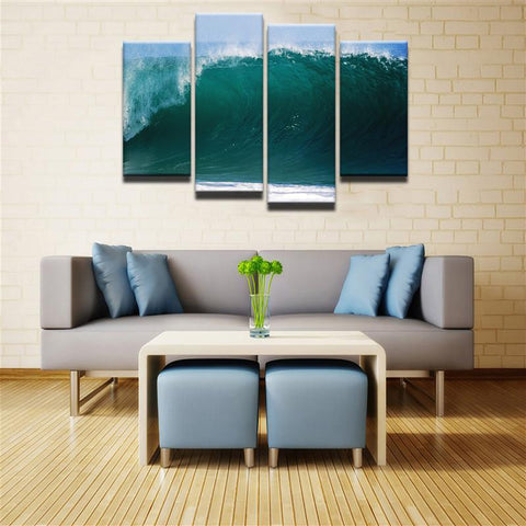 Big Wave Surfing 4 Pcs Canvas Set