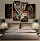 Red Eyed Owl Canvas 4 Pcs Wall Art