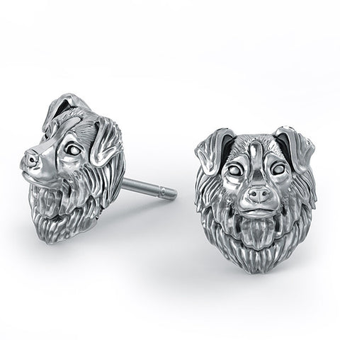 Australian Shepherd Puppy Face Earring Studs - TINY BLING