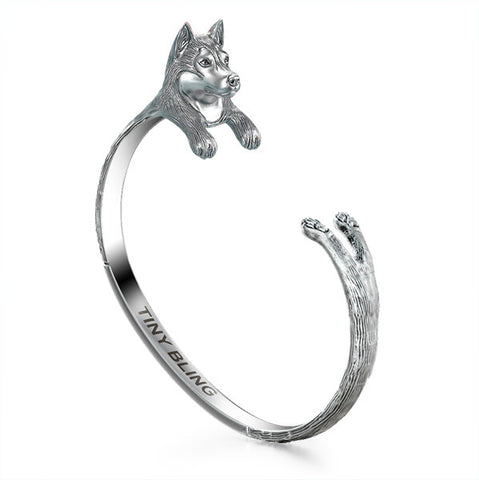 Alaskan Malamute Breed Jewelry Cuddle Cuff Bracelet