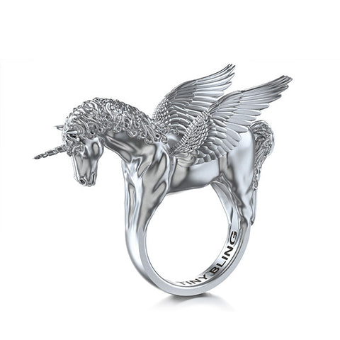 Winged Unicorn Pegacorn Equestrian Ring - TINY BLING