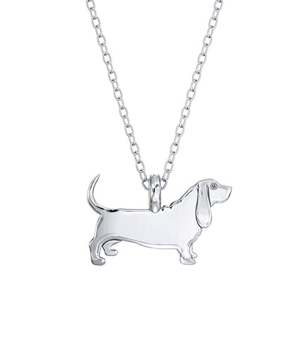 Basset Hound Mini Pups Diamond Necklace silver