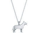 Bull Terrier Mini Pups Diamond Necklace silver