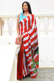 Urban Drape Red Stripe Scooter  Batik Saree