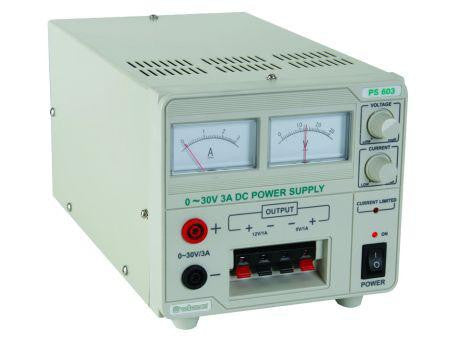 Velleman Analog PS603U  DC Lab Power Supply, 0-30V/12v/5v