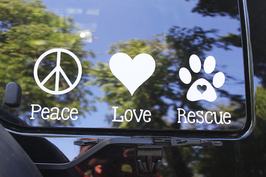 Peace, Love Rescue Vinyl Decal