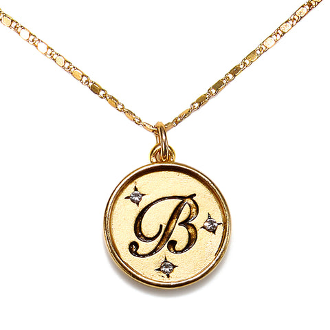 """B"" Round Script Initial Necklace"