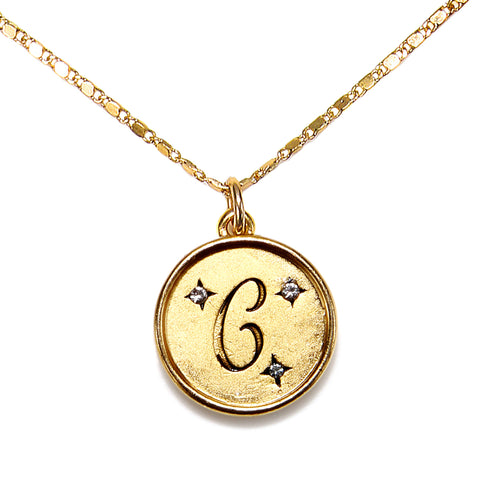 """C"" Round Script Initial Necklace"