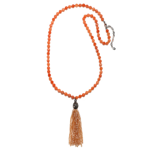 Coral Color Karma Tassel Necklace