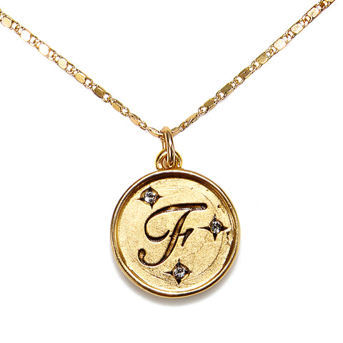 """F"" Round Script Initial Necklace"