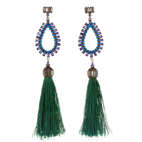 Green Hematite Statement Tassel Earrings