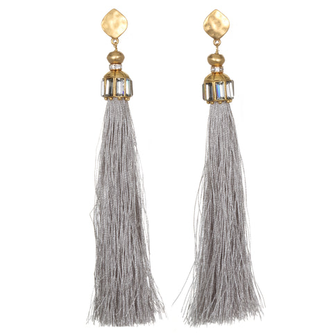 Grey Hammered Gold Tassel Earrings