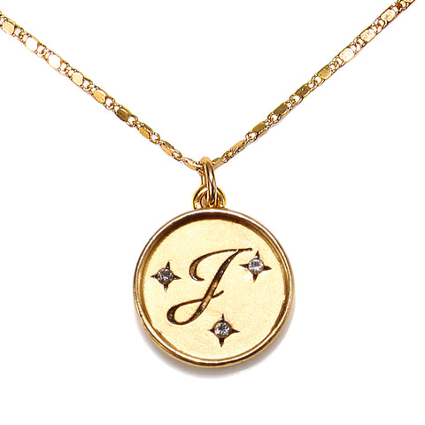 """J"" Round Script Initial Necklace"