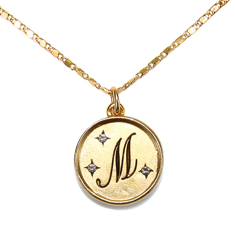 """M"" Round Script Initial Necklace"