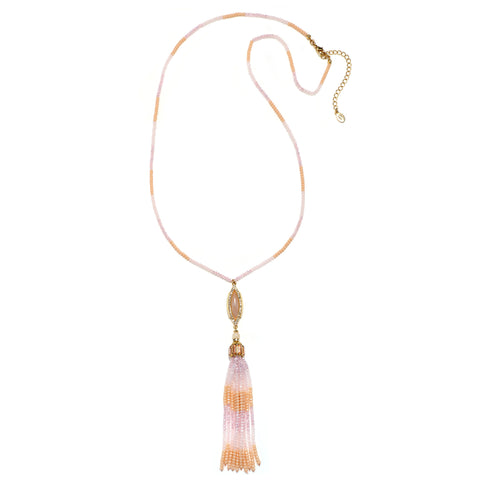 Peach Semi-Precious Tassel Necklace
