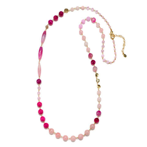 Pink Semi-Precious Strand Necklace