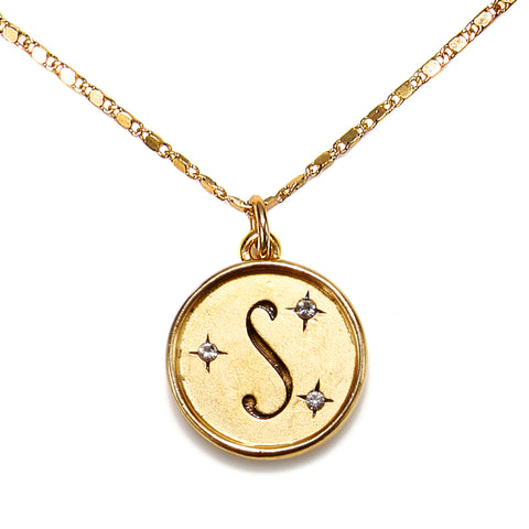 """S"" Round Script Initial Necklace"
