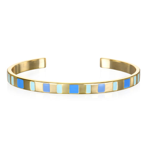 Shades of Blue Enamel Cuff