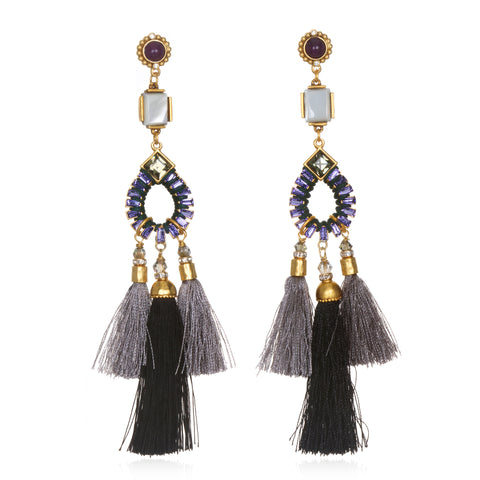 Shades of Grey Statement Tassel Earrings