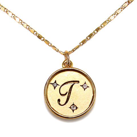 """T"" Round Script Initial Necklace"