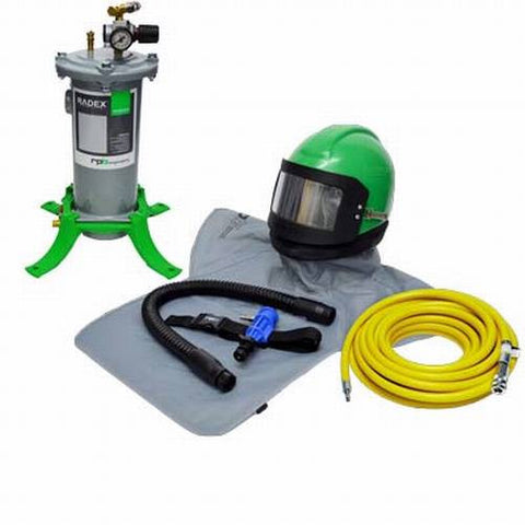 COMPLETE AIR CONDITIONED AIR FED SANDBLASTING HELMET SYSTEM FOR SHOTBLASTING