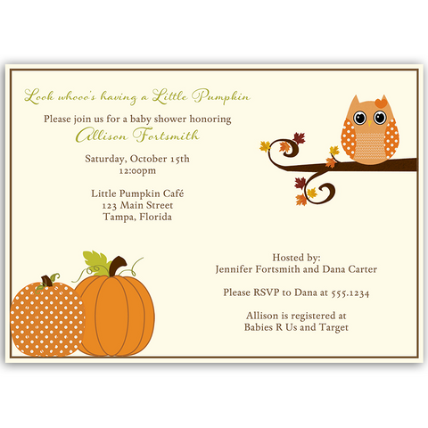 Autumn is a Hoot Baby Shower Invitation