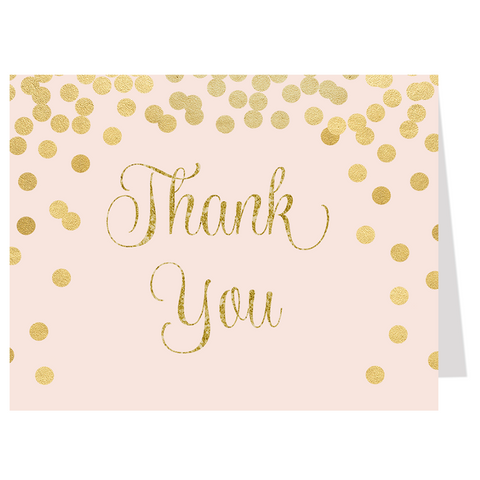 Confetti Bridal, Pink and Gold, Thank You Card