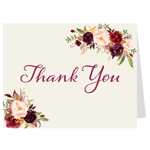 Burgundy Blooms Thank You Card