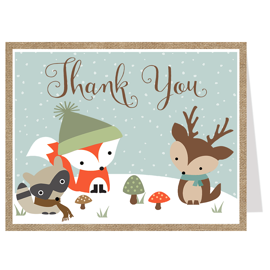 Winter Woodland Friends Thank You Card