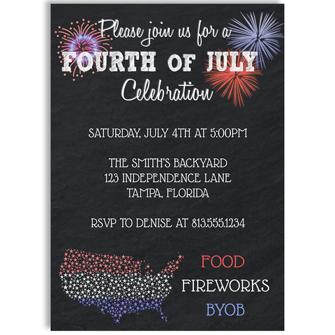 Chalkboard Fourth of July Celebration Invitation Card
