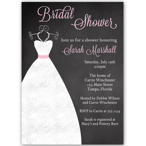 Chalkboard Gown Pink Bridal Shower Invitation