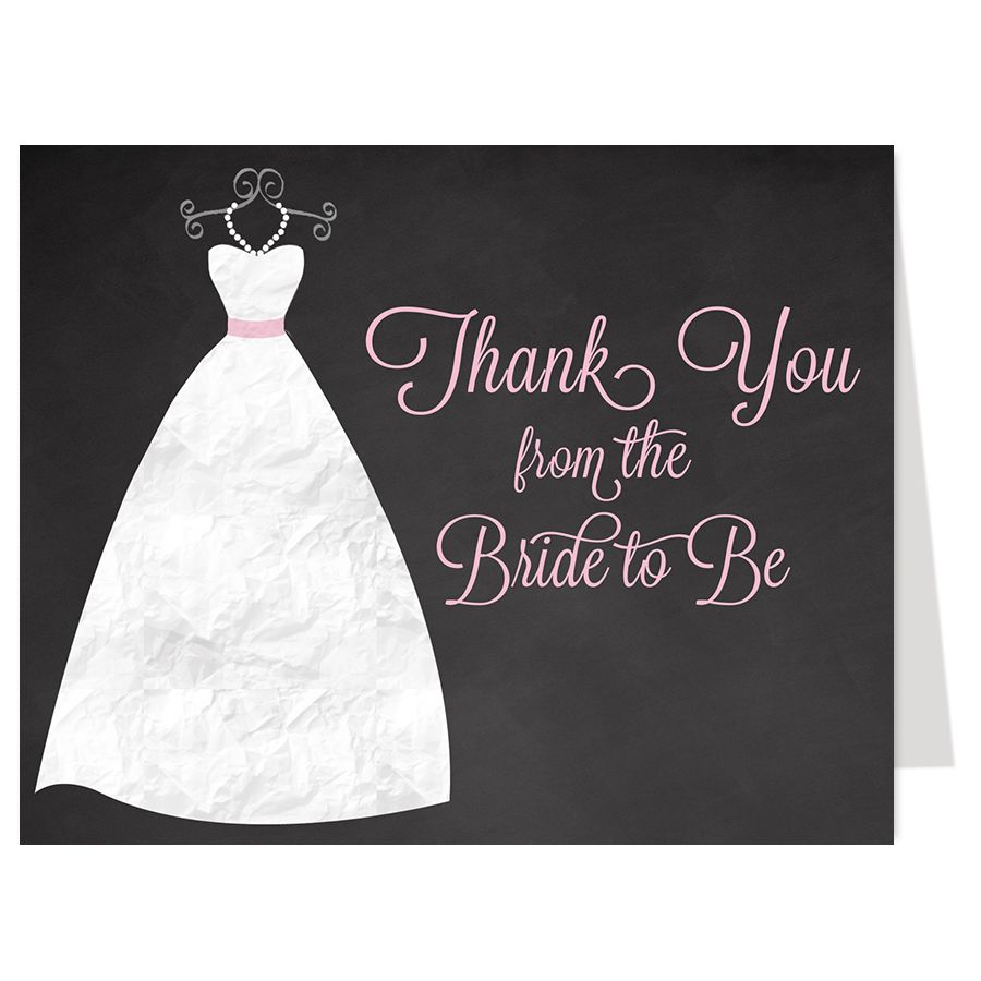 Chalkboard Gown Pink Thank You Card
