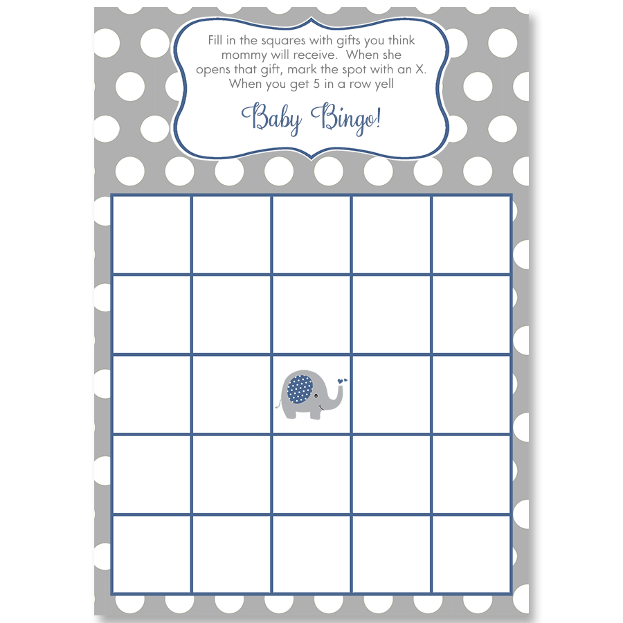 Polka Dot Elephant Navy Bingo Card