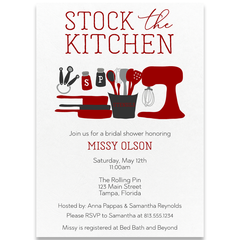 Stock The Kitchen Red Wedding Shower Invitation