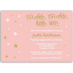Twinkle Stars Pink Glitter and Gold Baby Shower Invitation