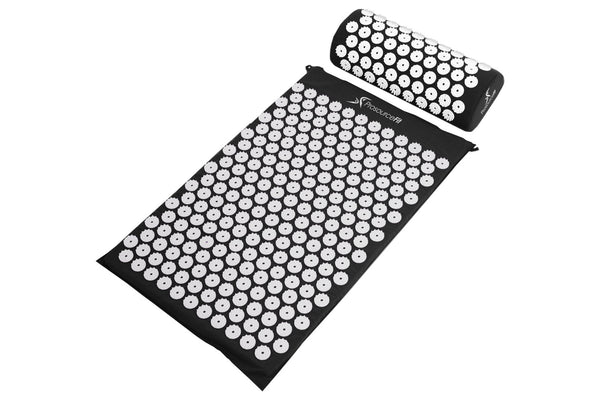 Acupressure Mat and Pillow Set Black