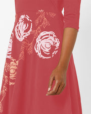 Maroon Flared Hem Kurti with Gold Print - Ira Soleil