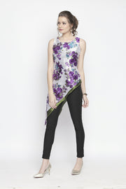 Asymmetrical Hem, printed & solid reversible (wear it both ways)Kurta. - Ira Soleil