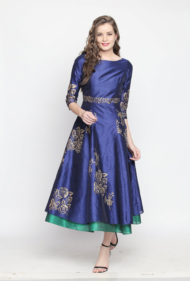 Blue  &  Green  Pinted  Reversible  (wear  it  both  ways)  Kurta - Ira Soleil