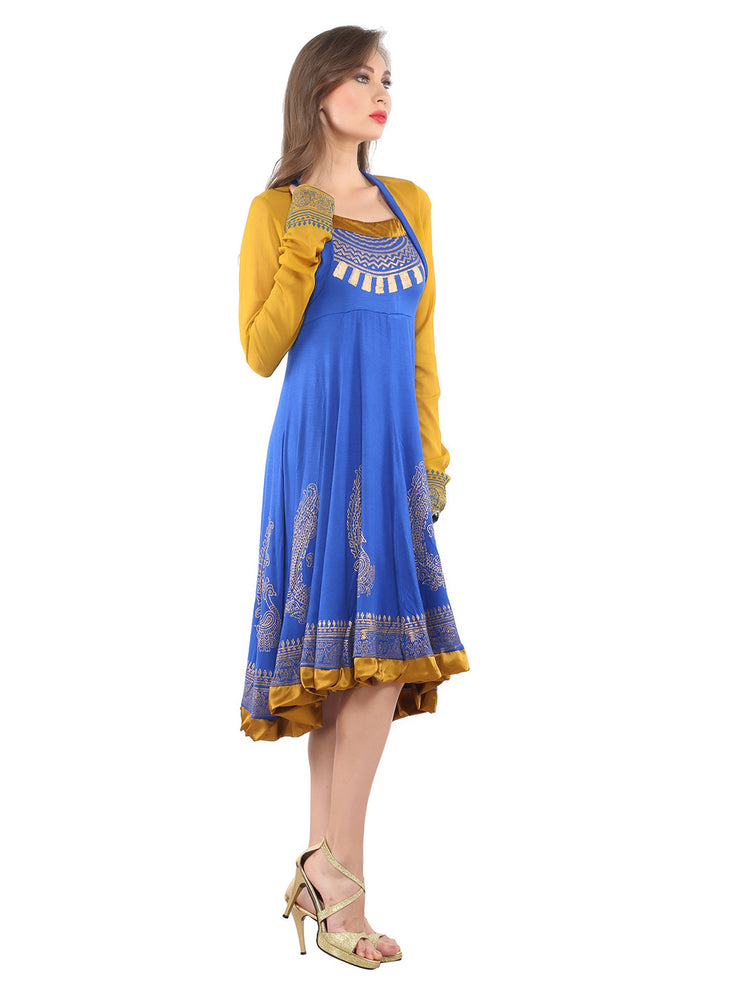 Ira Soleil 2 pc Set of Viscose knitted Stretchable halter neck Blue Inner with chiffon block printed Women's Anarkali Kurti - Ira Soleil
