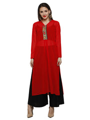 Red kurta with embroidered placket in light georgette fabric - Ira Soleil