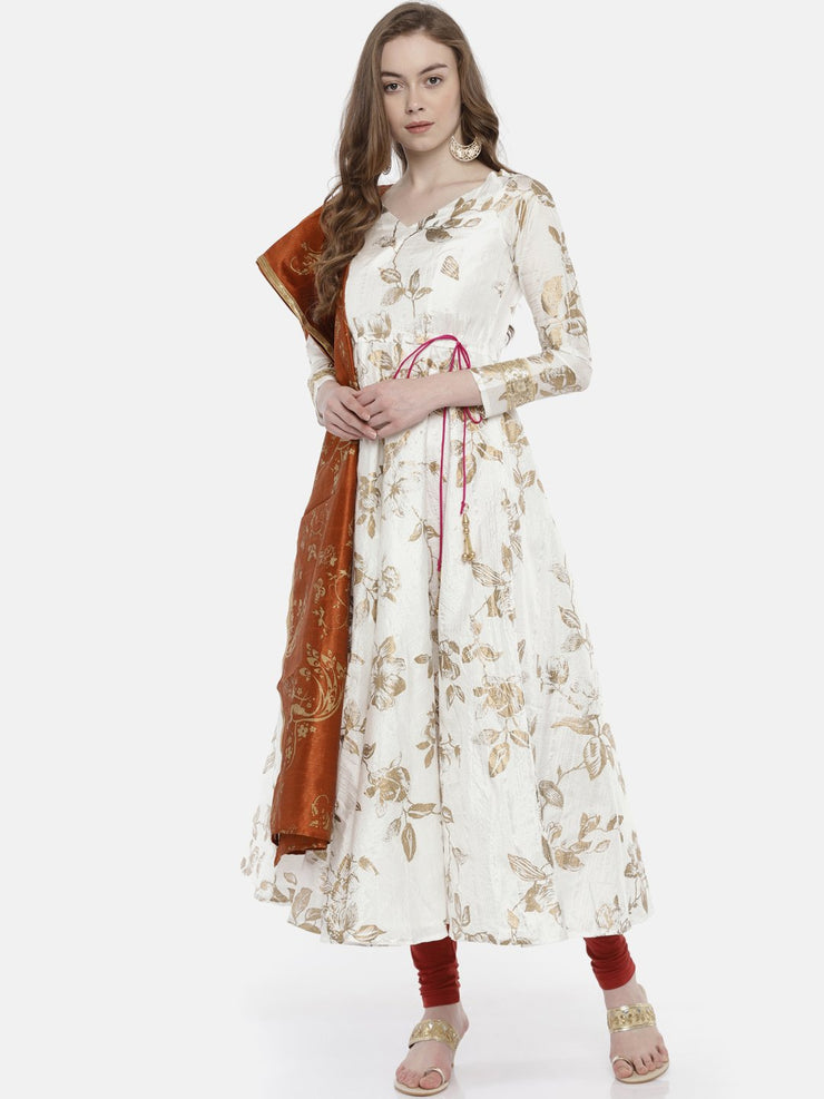 White Long printed Anarkali with embelished back neck