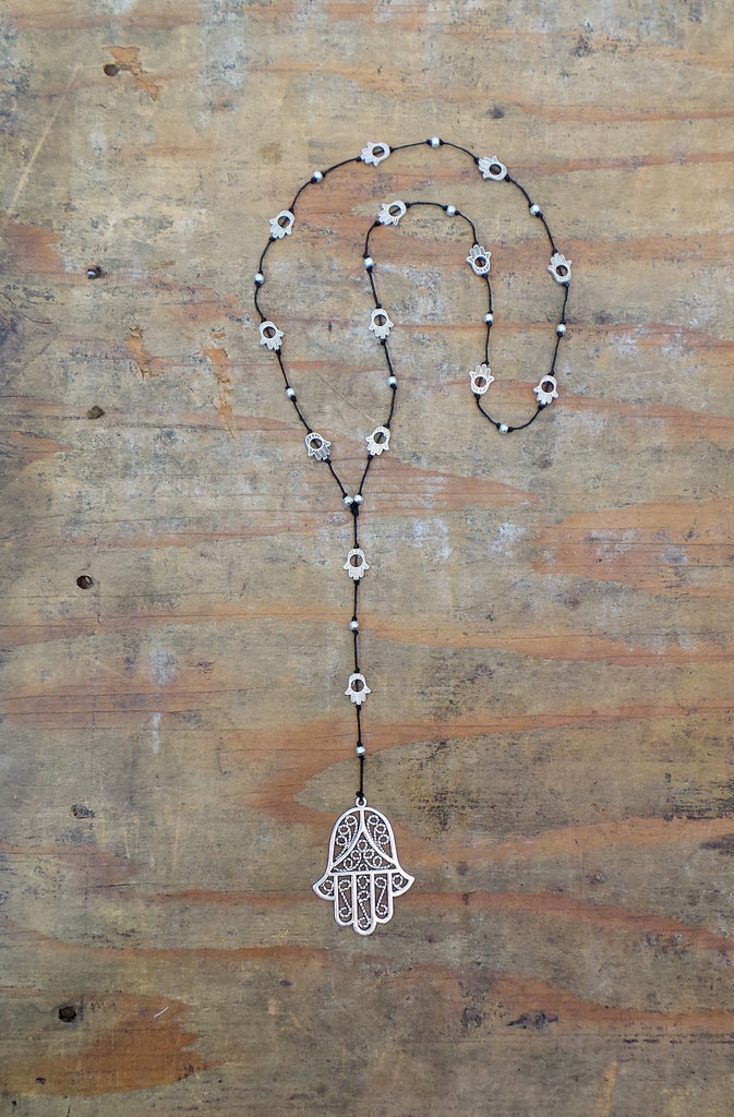 Bali Queen Wholesale silver rhodium based alloy metal Hamsa necklace.  Made in Bali, Hypoallergenic, Tarnish resistant. Vegan.