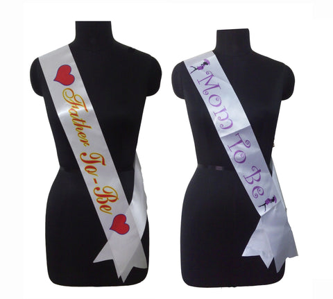 Baby Shower Mom Dad Sashes Combo