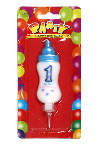 1st Birthday Baby Bottle Blue Wax Party Candle