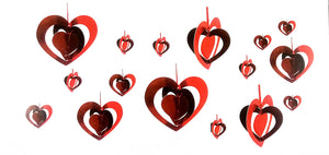 3D Heart Hanging Dangler for Party Decoration, Valentine / Wedding Proposal and Other Celebrations (Pack of 16 Pcs.)
